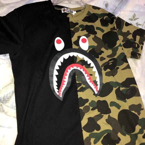ffa99cbc Bape Shirts | Half Camo Half Black Shirt | Poshmark